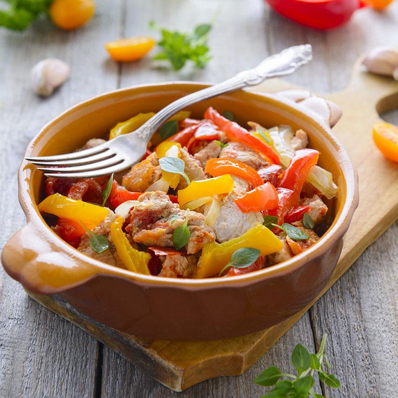 Ragú de pavo con verduras